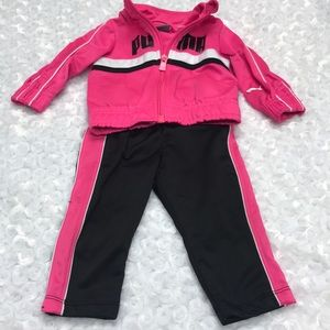 Pink & black baby Puma warm up set